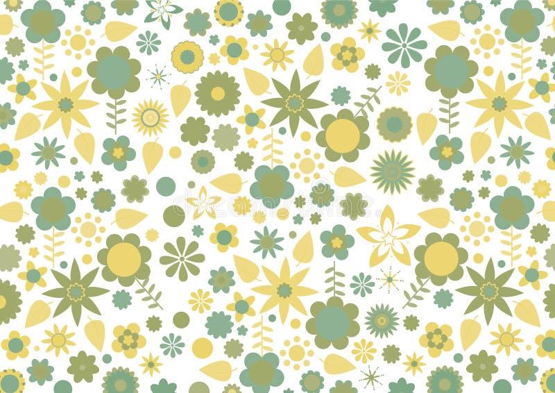 Retro reticolo verde e giallo dei fogli e dei fiori royalty illustrazione gratis