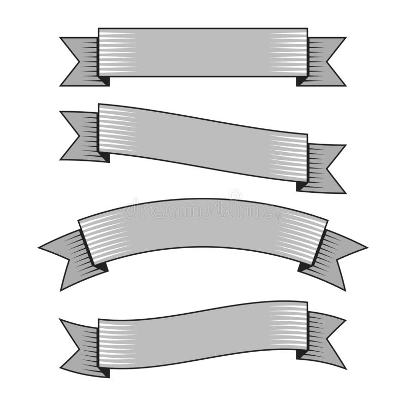 Retro ribbon banners in hand drawn engraving style vector stock illustration