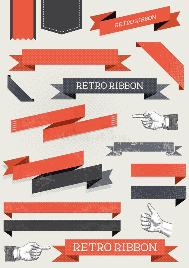 Retro Ribbon Collection vector illustration