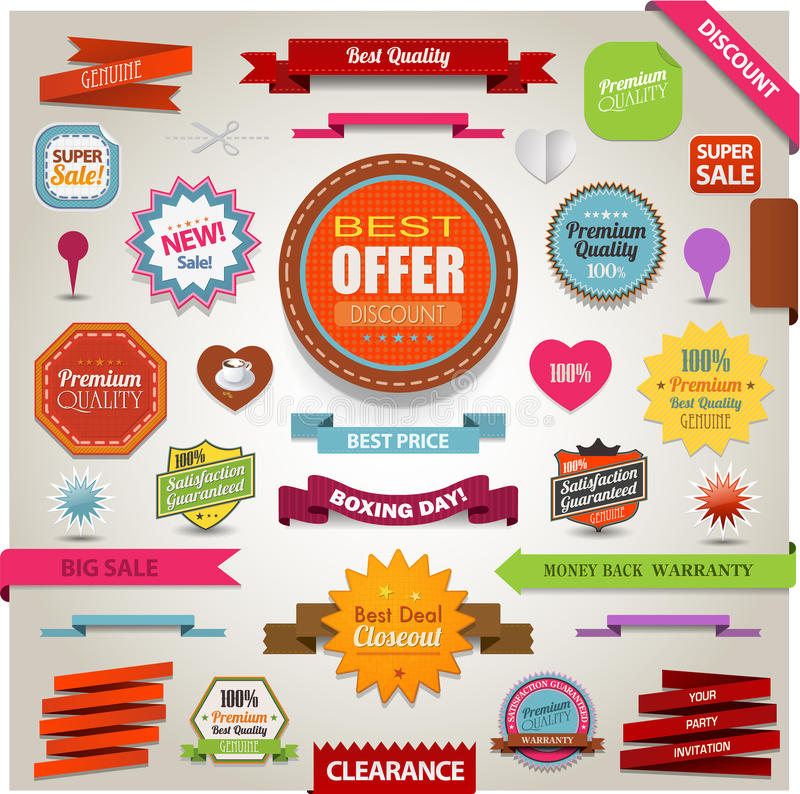 Free Retro Ribbons Vintage Labels Banners And Emblems Royalty Free Stock Photo - 31317585