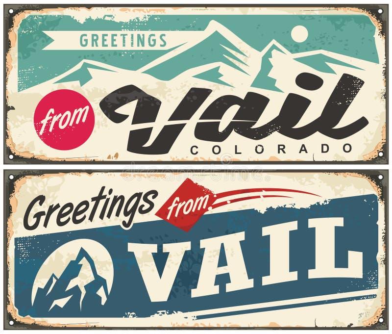 Retro ricordo di Vail Colorado dalla destinazione di vacanza invernale illustrazione di stock