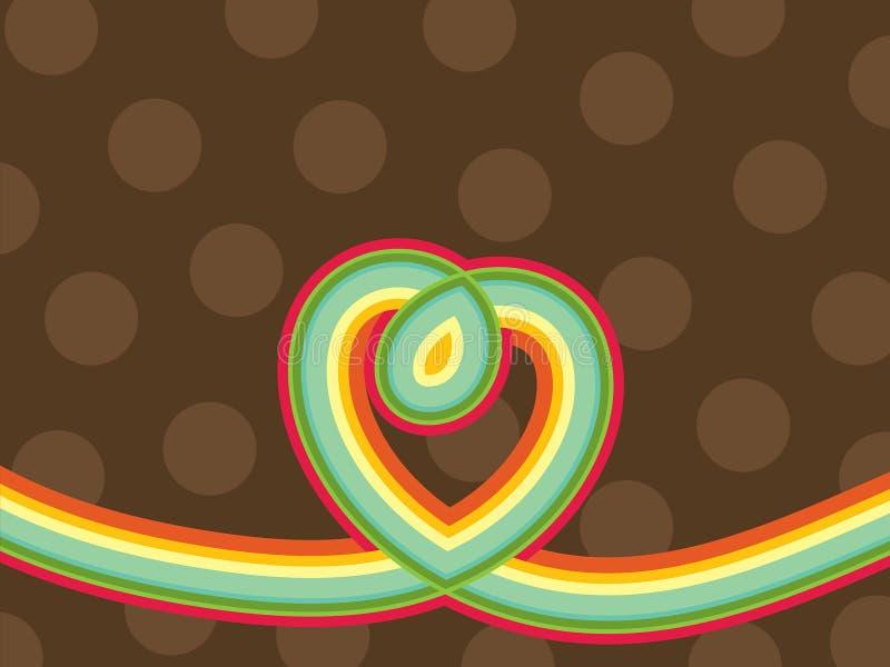 Retro riga cuore del Rainbow di schiocco illustrazione di stock