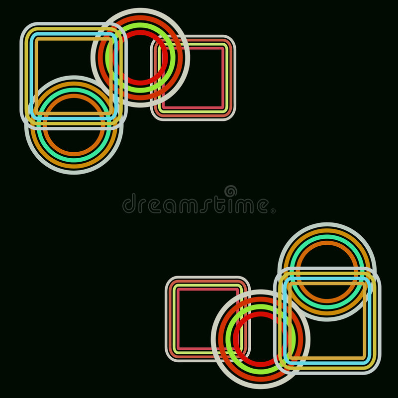 Retro rings. Retro circles and rounded rectangles on black background royalty free illustration