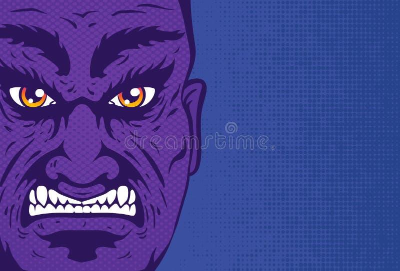 Retro ritratto arrabbiato dell'uomo nello stile dei fumetti royalty illustrazione gratis