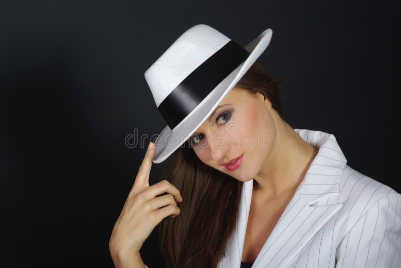 Retro ritratto in cappello bianco immagine stock