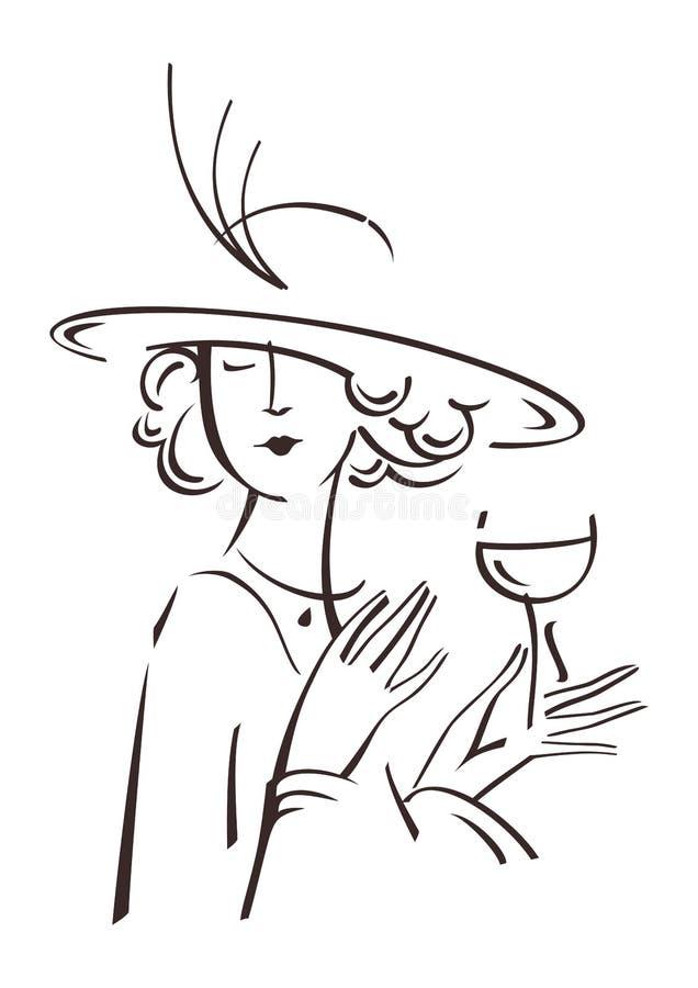 Retro ritratto della donna illustrazione di stock