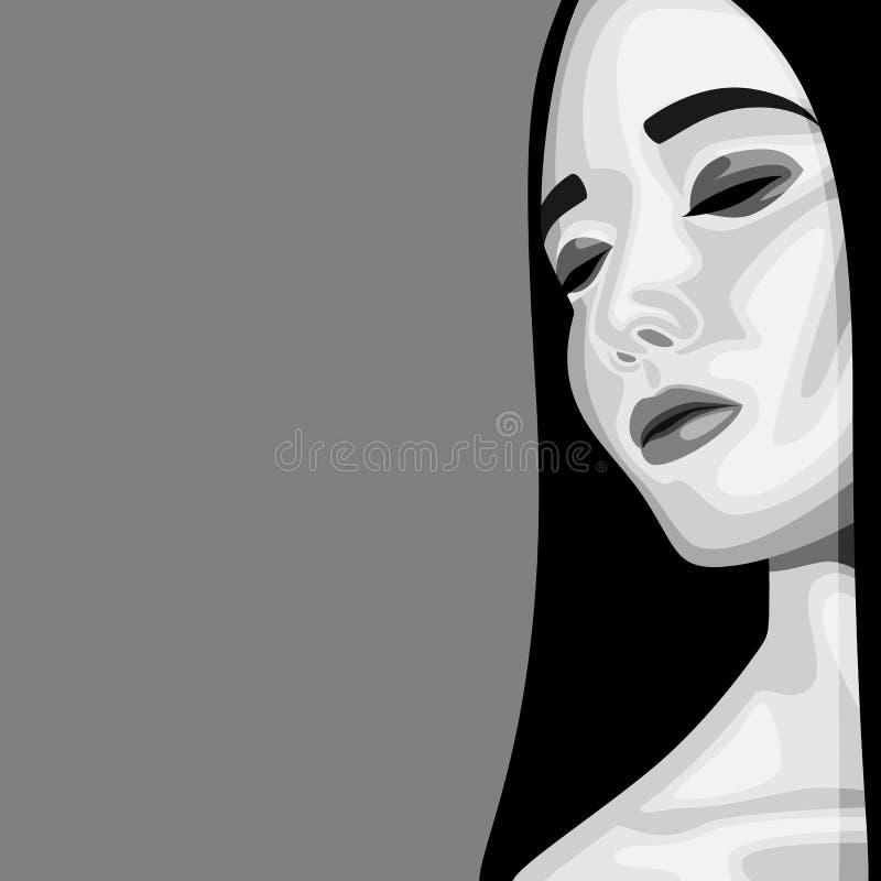 Retro ritratto di bellezza di modo della donna illustrazione di stock