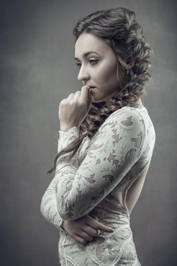 Retro ritratto femminile disegnato fotografie stock