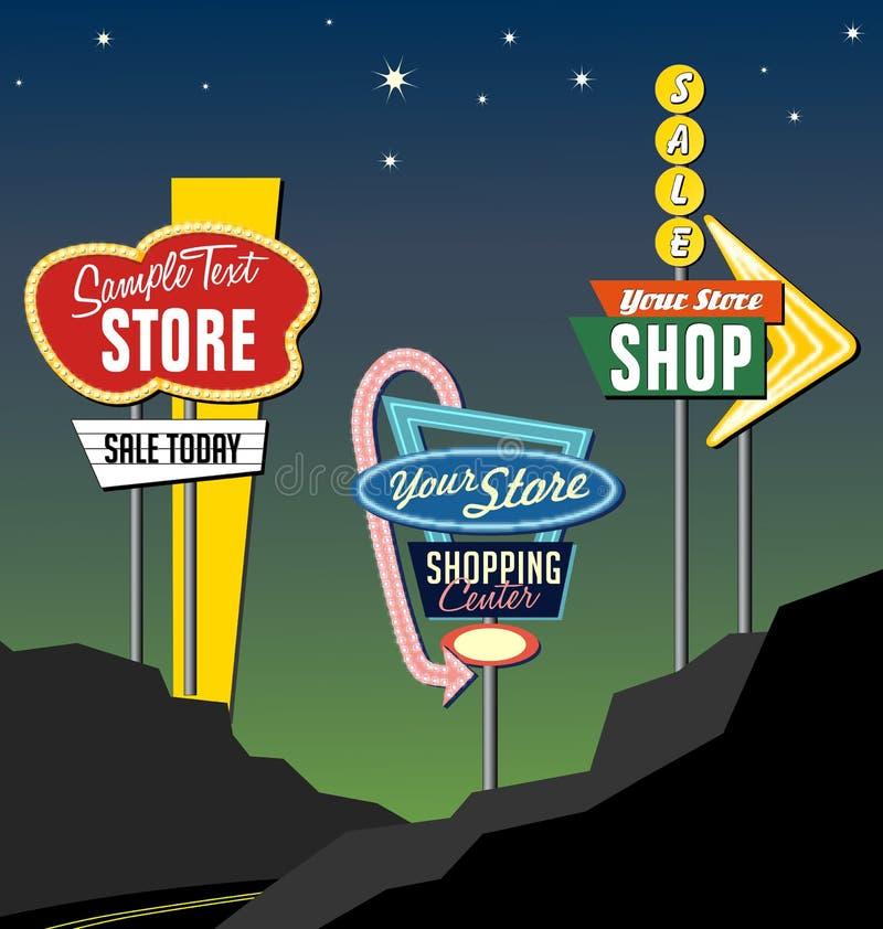 Free Retro Roadside Neon Signs 2 Royalty Free Stock Photo - 34051395