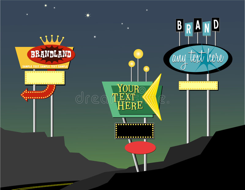 Retro roadside signs. Editable retro marquee signs- add your own messages
