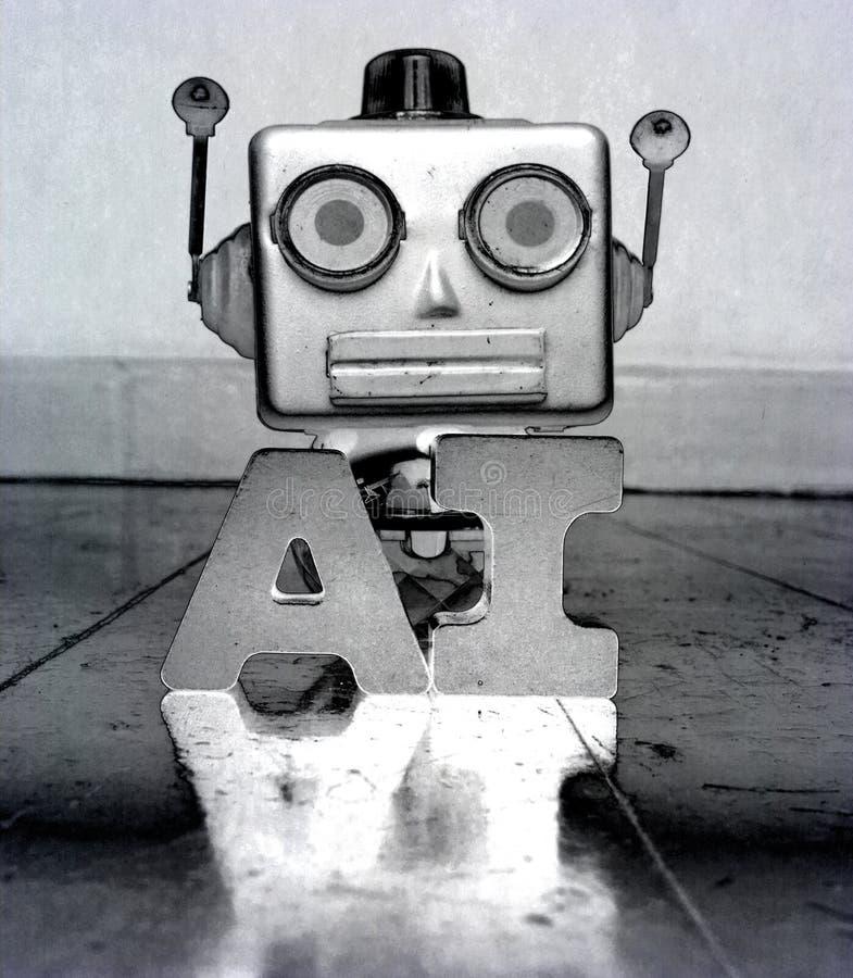 Retro robor head and the word AI royalty free stock photo