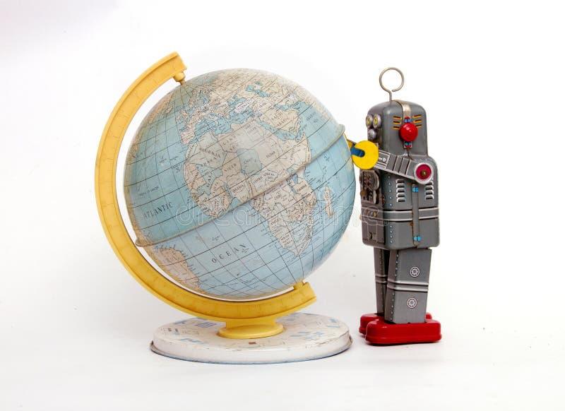 Retro robotów sdudys świat odizolowywający na bielu zdjęcie stock