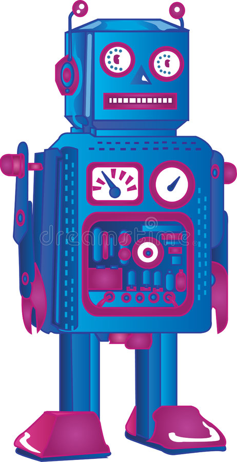 Download Retro Robot stock vector. Image of 1950s, black, perspective - 3166468