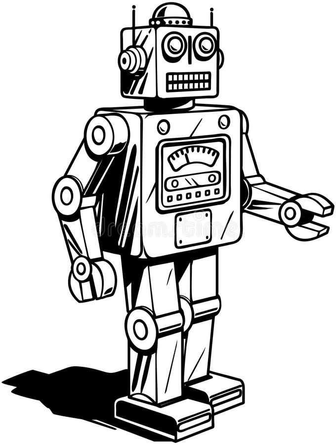 Retro robot stock illustratie