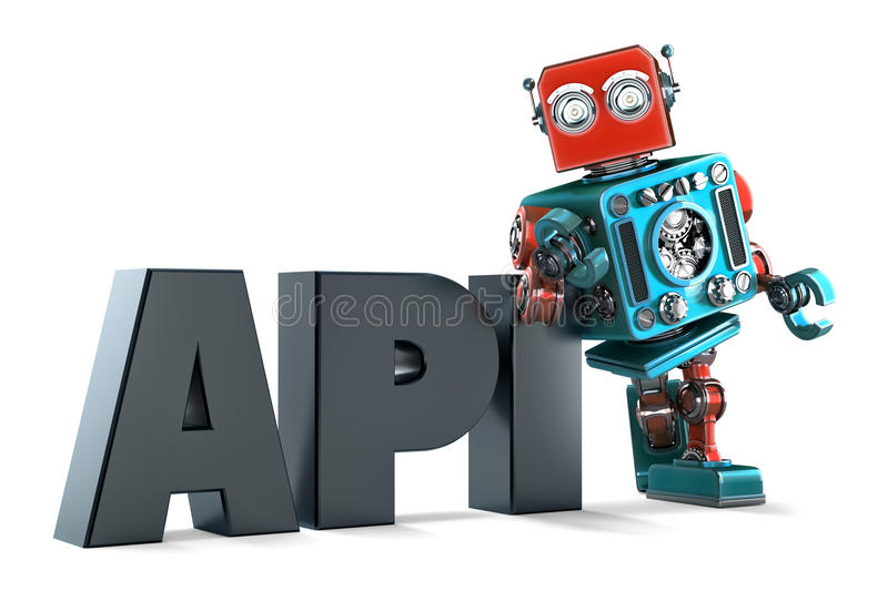 Retro Robot with application programming interface sign. Isolated. Contains clipping path. Retro Robot with application programming interface sign. Technology stock illustration