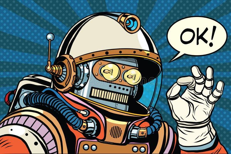 Retro robot astronaut gesture OK stock illustration