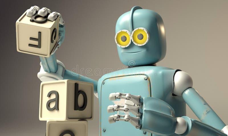 Retro robot bawić się z drewnianymi ABC sześcianami na floore świadczenia 3 d royalty ilustracja