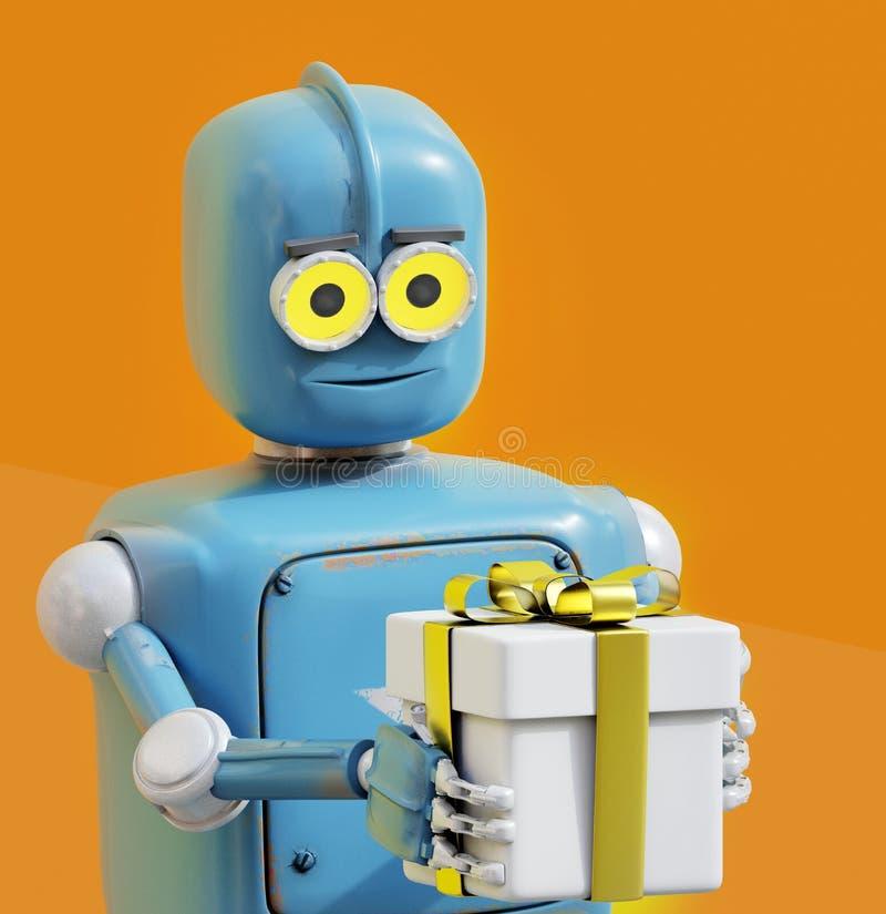 Retro robot che presenta il contenitore di regalo illustrazione vettoriale