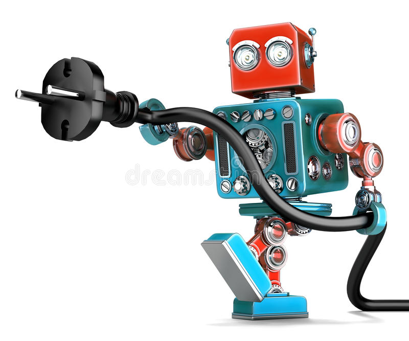 Retro robot con la spina elettrica Contiene il percorso di ritaglio illustrazione di stock