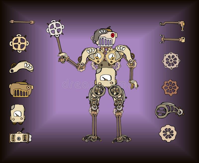 Retro robot części royalty ilustracja