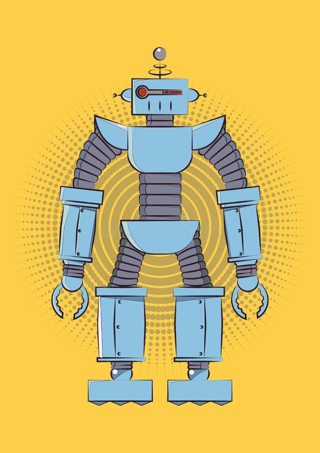 Retro robot d'annata Illustrazione di vettore su fondo giallo illustrazione di stock