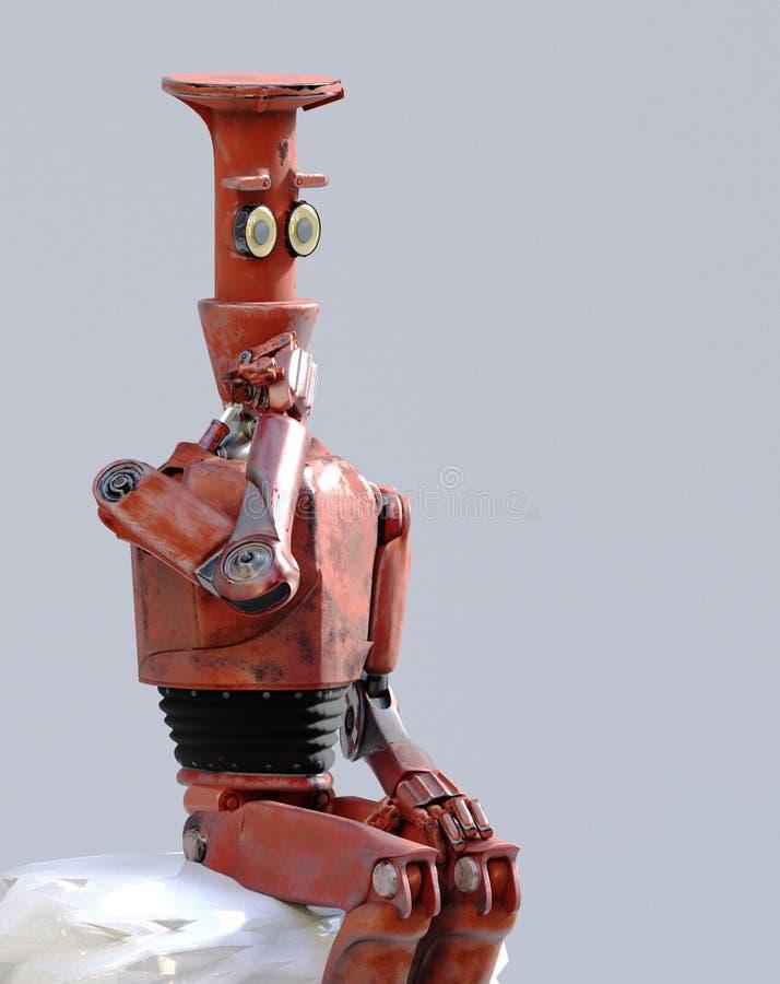 Retro robot denkt zitting op de kubus, kunstmatige intelligentie, ai royalty-vrije illustratie