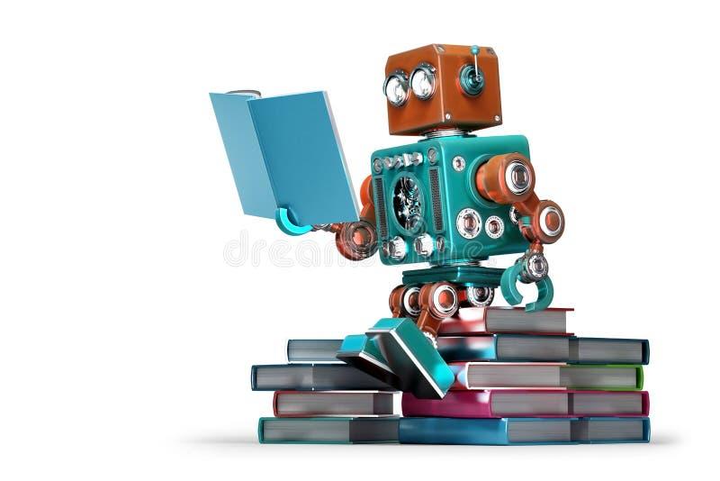 Retro robot die een boek lezen Geïsoleerde Bevat het knippen weg royalty-vrije illustratie