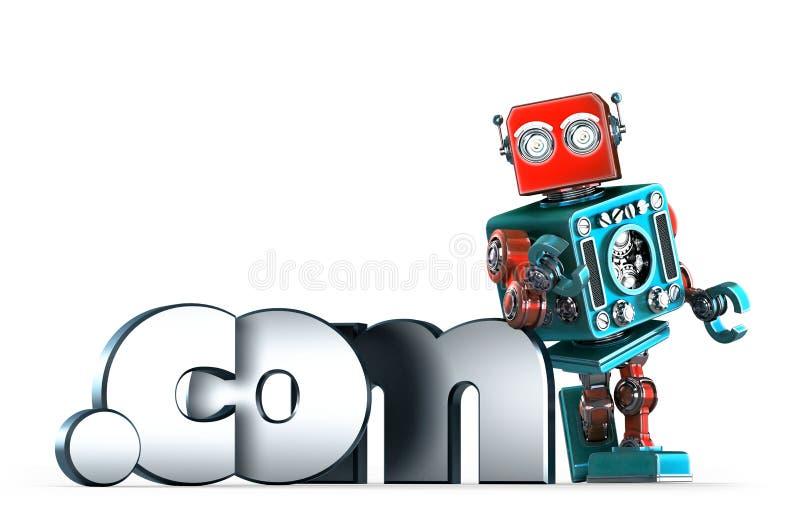 Retro robot with dot COM domain sign. . Contains clipping path. Retro robot with dot COM domain sign. over white. Contains clipping path stock illustration