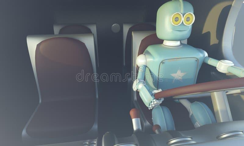 Retro Robot drave auto Autonoom vervoer en zelf-drijft auto royalty-vrije illustratie