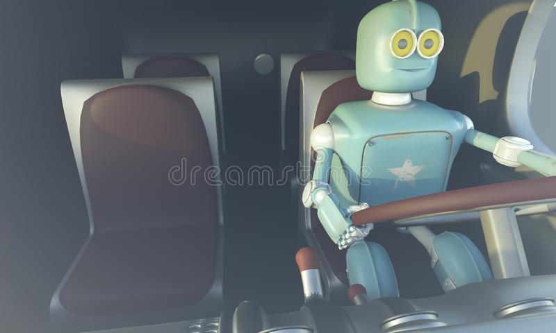 Retro Robot drave car. Autonomous transport and self-driving car royalty free illustration