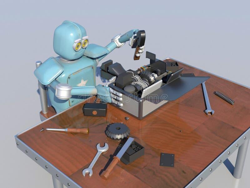 Retro Robot herstelt een gebroken mechanisme, herstelt Android det stock illustratie