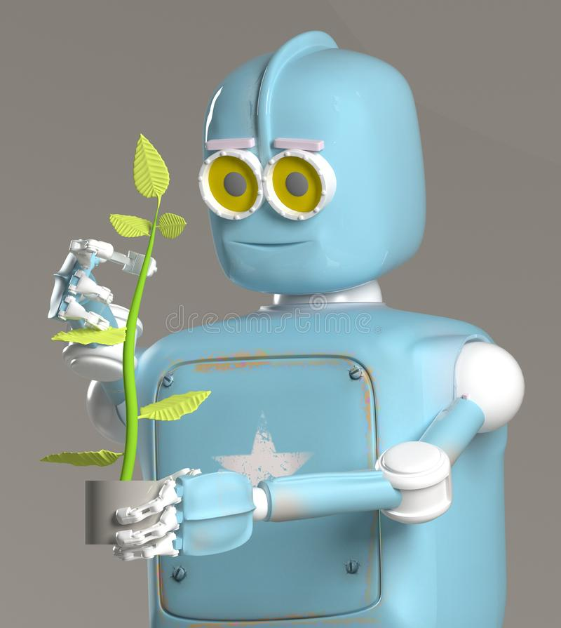 Retro robot hold plant,droid with sprout,3d render royalty free illustration