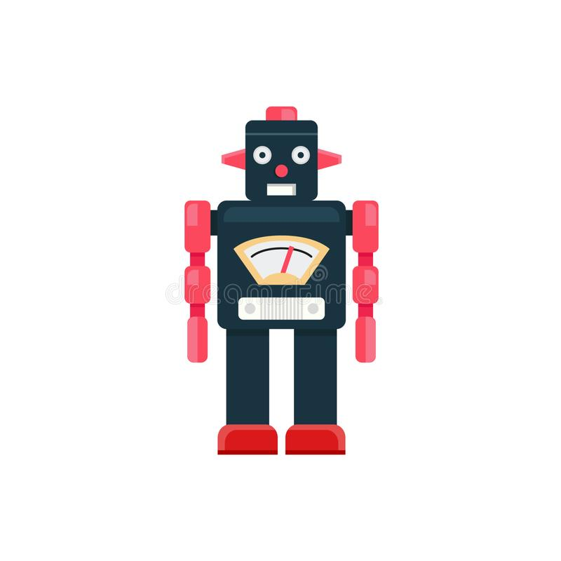 Retro robot, Robot isoleert vector, Retro Robotstuk speelgoed royalty-vrije illustratie