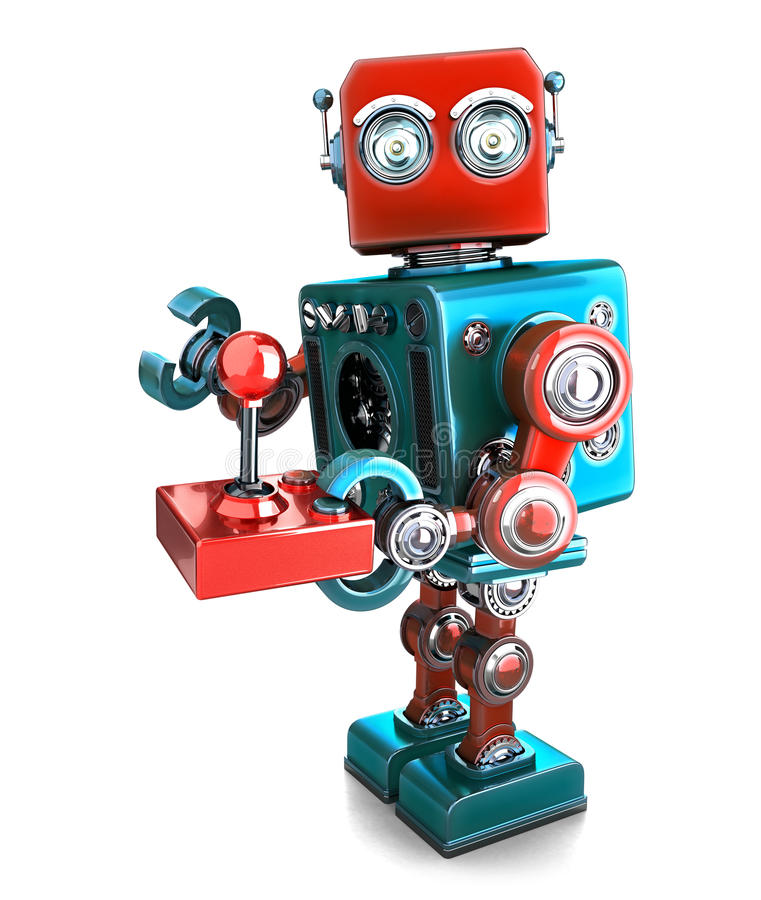 Retro Robot with a joystick. Isolated. Contains clipping path stock illustration