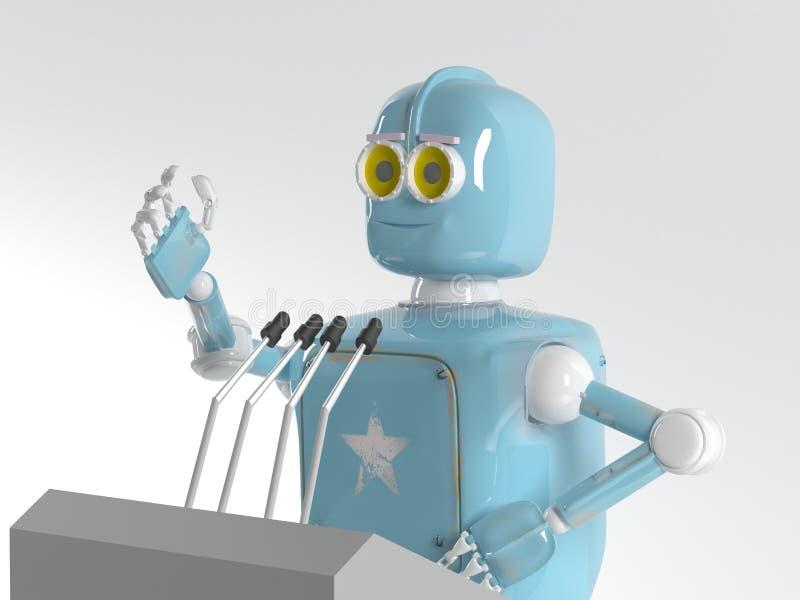Retro robot krasomówca, mówca, 3d, odpłaca się ilustracja wektor