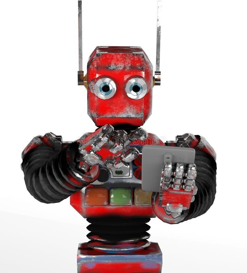 Retro robot med en telefon vektor illustrationer