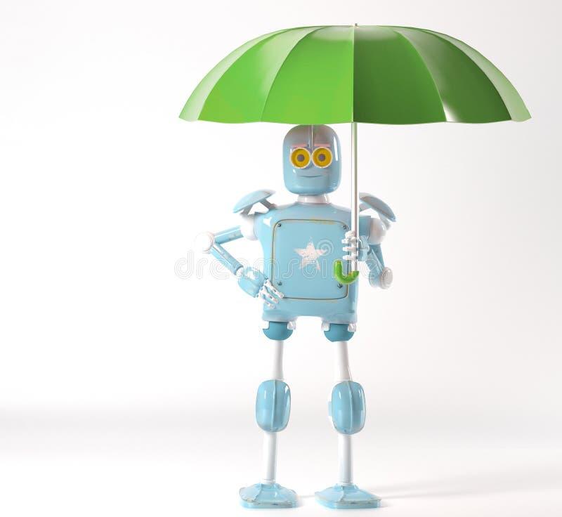 Retro robot med paraplyet, 3d att framf?ra vektor illustrationer