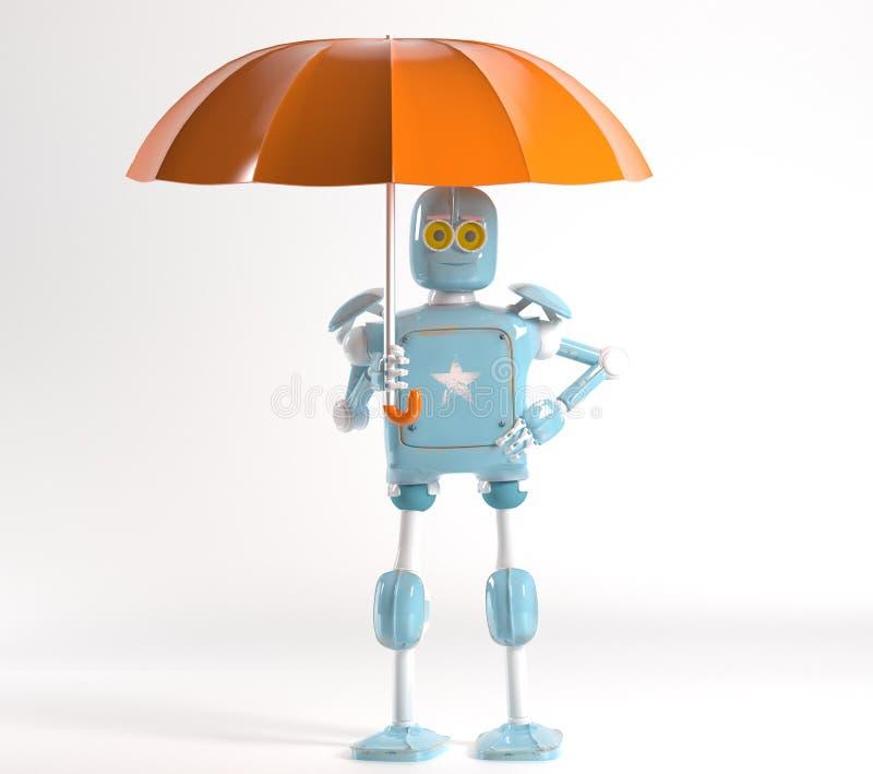 Retro robot met 3d paraplu, geeft terug royalty-vrije illustratie