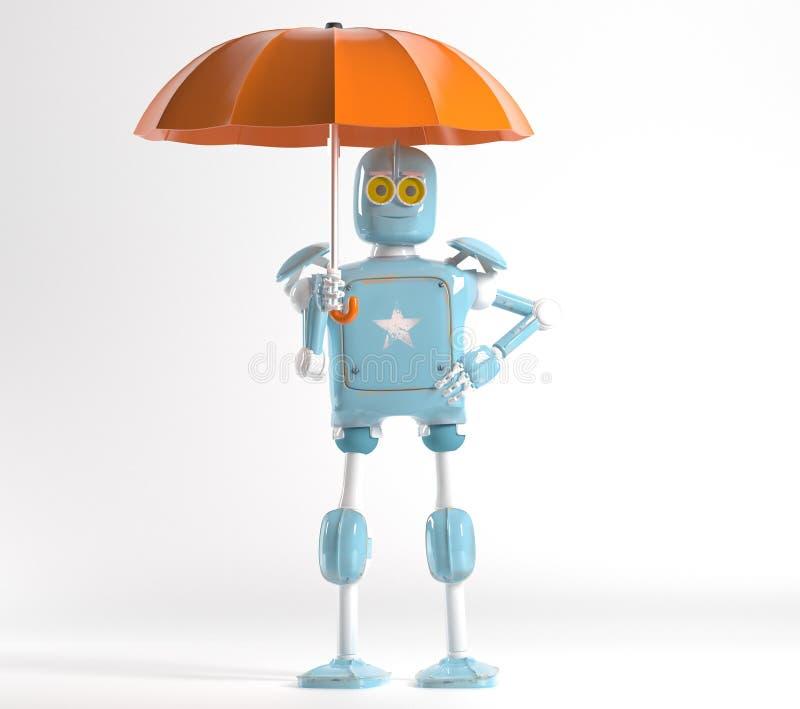 Retro robot met 3d paraplu, geeft terug vector illustratie