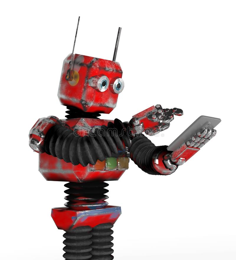 Retro robot met een telefoon vector illustratie