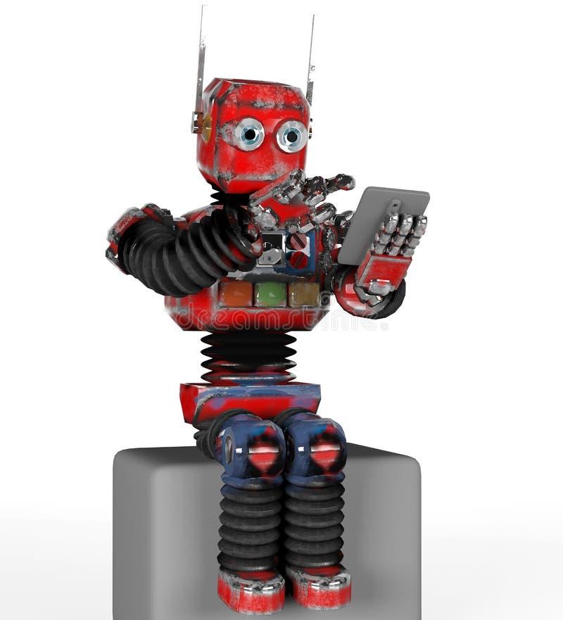 Retro robot met een telefoon op 3d doos, geeft terug royalty-vrije illustratie