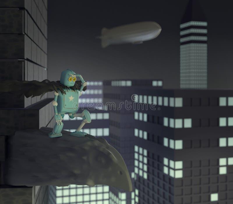 Retro robot met een telefoon op doos, 3d luchtschip, dirigible, geeft terug vector illustratie