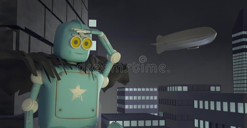 Retro robot met een telefoon op doos, 3d luchtschip, dirigible, geeft terug royalty-vrije illustratie