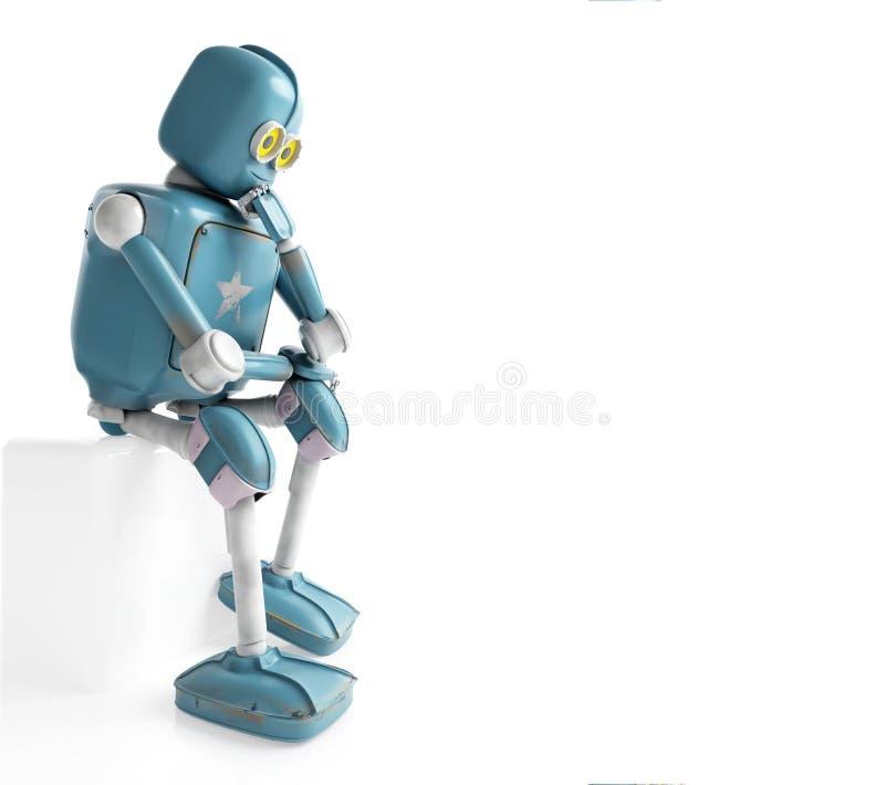 Retro robot myśleć obsiadanie na sześcianie, sztuczna inteligencja, ilustracja wektor