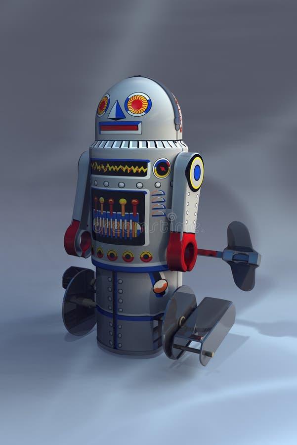 Retro robot numero 7 illustrazione di stock