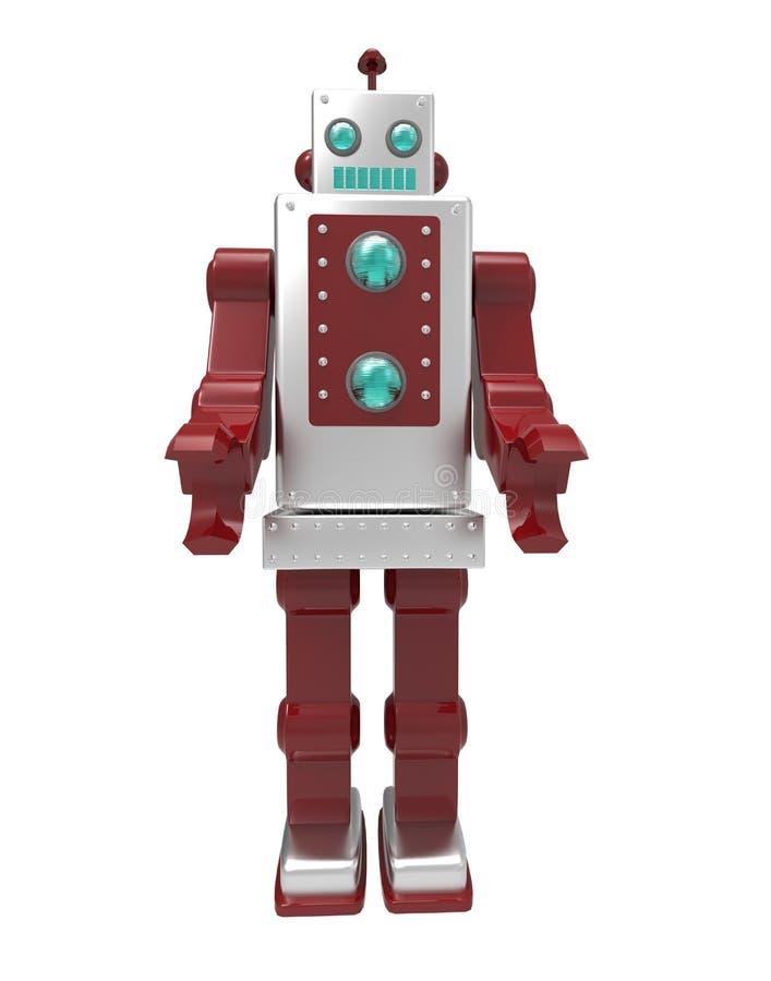 Retro robot på vit bakgrund med urklippmaskeringen stock illustrationer