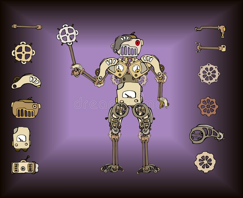 Retro robot parts royalty free illustration