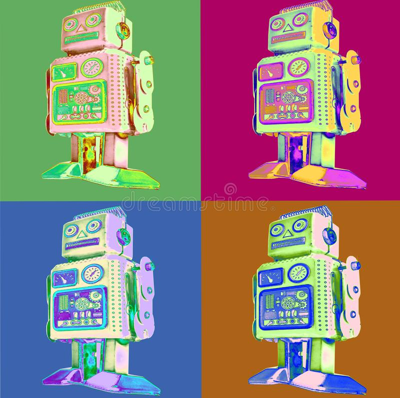 Retro robot pop art style. Standing retro robot pop art style in four squares royalty free illustration