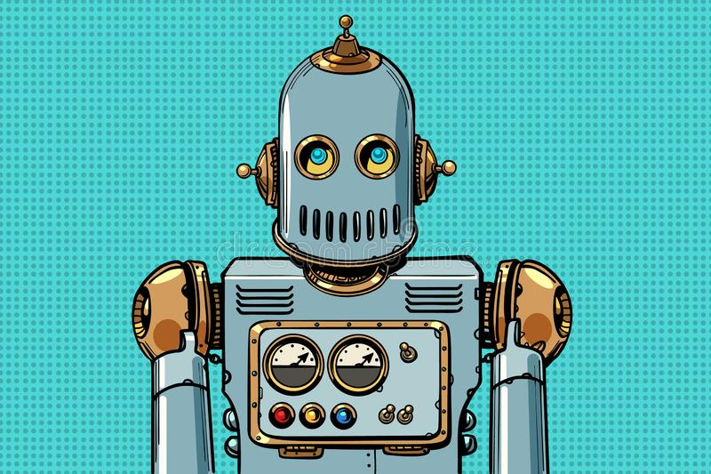Retro robot portrait. Pop art vector illustration vintage kitsch royalty free illustration