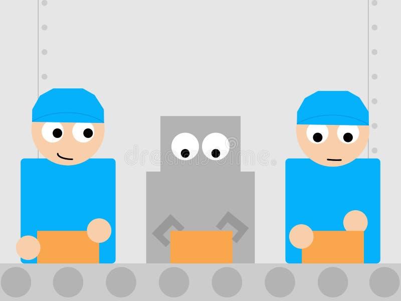 Retro robot pracuje z istotami ludzkimi w fabryki linii royalty ilustracja